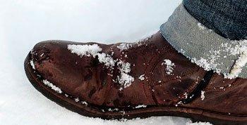 Schuh voller Schnee